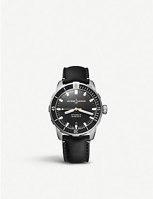 ULYSSE NARDIN: Diver stainless steel and leather watch