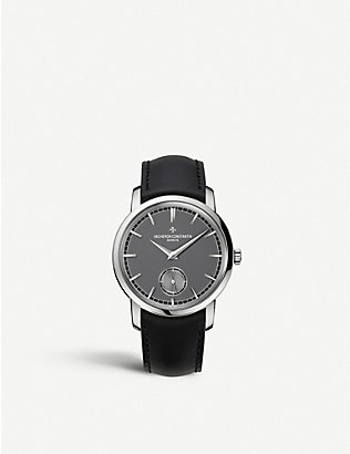 VACHERON CONSTANTIN: 82172/000P 9811 Patrimony Traditionnelle platinum and embossed leather strap watch