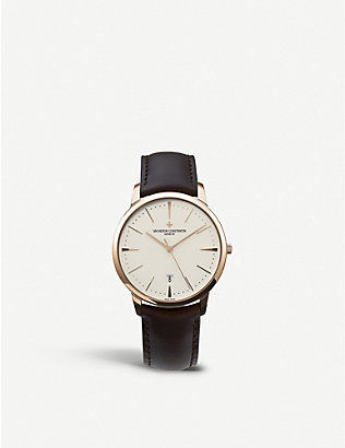 VACHERON CONSTANTIN: 85180/000R-9248 Patrimony 18ct rose-gold and leather watch