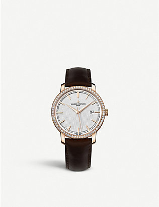 VACHERON CONSTANTIN: 85520/000R-9850 Traditionelle 18ct pink gold, diamond and leather watch
