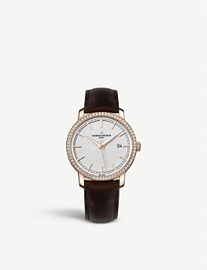 VACHERON CONSTANTIN 85520/000R-9850 Traditionelle 18ct pink gold, diamond and alligator leather watch