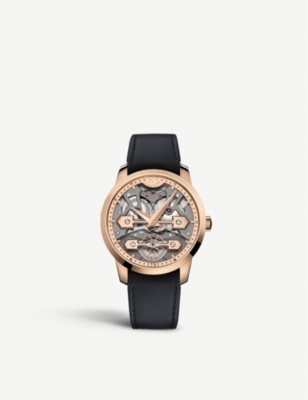 GIRARD-PERREGAUX 86000-52-001-BB6A Classic Bridges rose-gold and crocodile-embossed leather strap watch