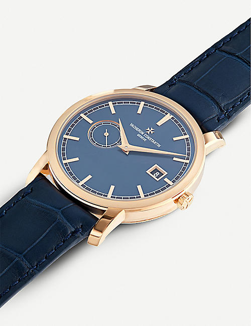 VACHERON CONSTANTIN 87172/000R-B512 Traditionnelle Blue Edition 18-carat rose-gold and leather watch