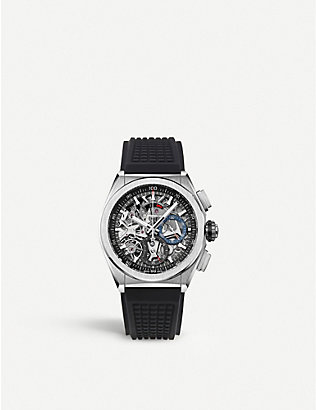 ZENITH: 95.9000.9004/78.R582 El Primero stainless steel and leather watch