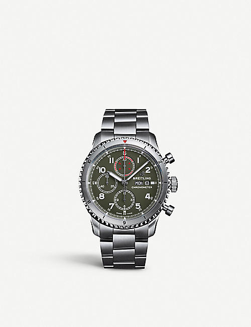 BREITLING: A133161A1L1A1 Aviator 8 Chronograph 43 Curtiss Warhawk stainless-steel watch