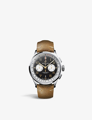 BREITLING AB0118A21B1X1 Premier B01 Chronograph Norton steel and leather watch