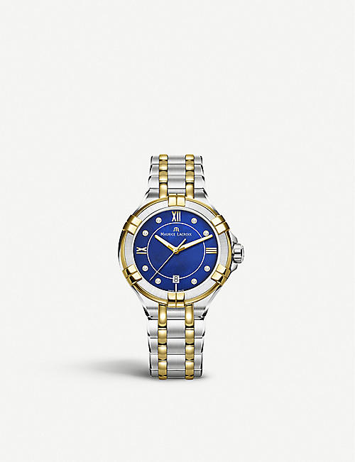 MAURICE LACROIX: AI1006-PVY13-450-1 Aikon gold-plated, stainless steel and diamond watch