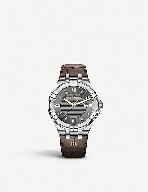 MAURICE LACROIX: AI1008-SS001-333-1 Aikon stainless steel and leather watch