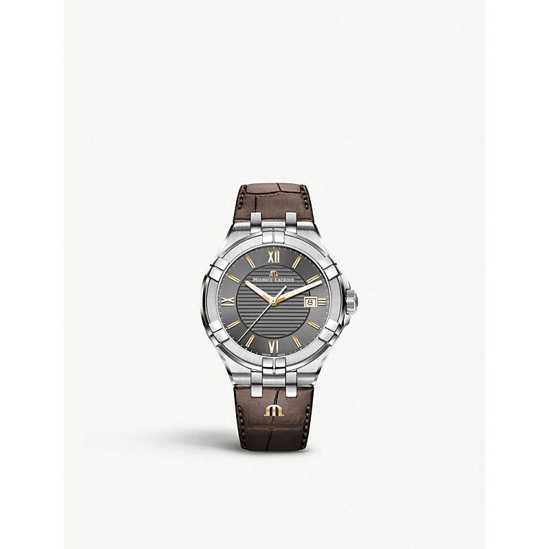 MAURICE LACROIX Ai1008-Ss001-333-1 Aikon Stainless Steel And Leather Watch in Brown