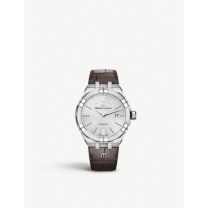 MAURICE LACROIX Ai6008-Ss001-130-1 Aikon Stainless Steel And Leather Watch in Brown