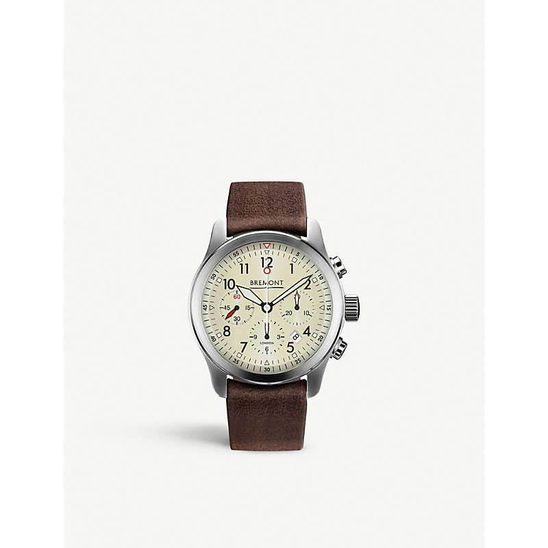 BREMONT T1084082203700 Alt1-P2 Stainless Steel Chronograph Leather Strap Watch in Brown