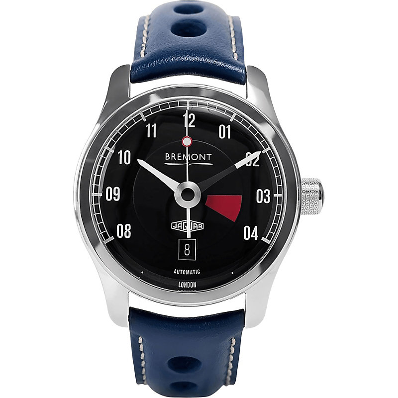 BREMONT Bj-Iii/Bk Jaguar Mkiii Stainless Steel And Leather Watch in Blue