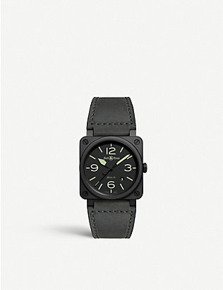 BELL & ROSS: BR0392-BL3-CE/SCA Instruments BR03 Nightlum ceramic and leather watch