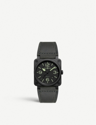 BELL & ROSS BR0392-BL3-CE/SCA Instruments BR03 Nightlum ceramic and leather watch