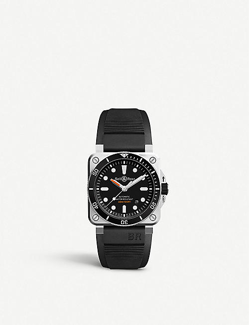 BELL & ROSS BR0392 Diver satin-polished steel and rubber watch