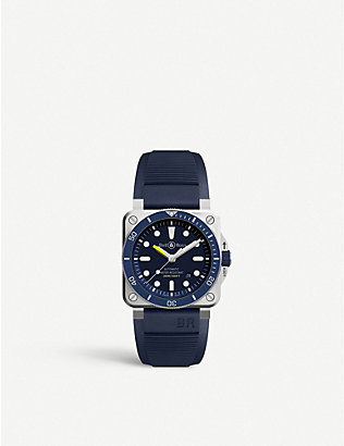 BELL & ROSS: BR0392DBUSTSRB Instruments BR 03-92 Diver stainless steel and rubber watch