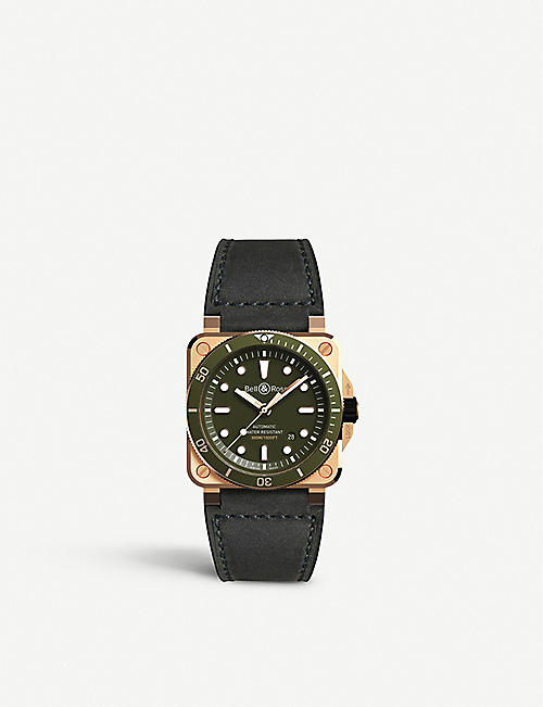 BELL & ROSS BR0392-D-G-BR/SCA limited edition Diver BR 03-92 bronze and leather watch