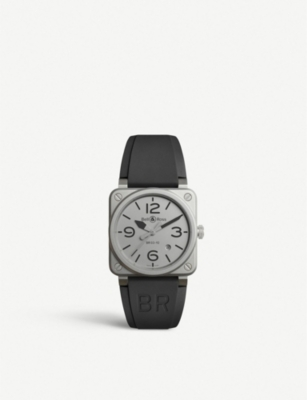 BELL & ROSS BR0392GBLSTSRB Instruments BR 03-92 microblasted steel and rubber watch