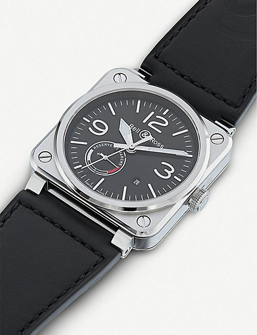 BELL & ROSS BR0397-BL-SI/SCA /2 Aviation steel and leather watch
