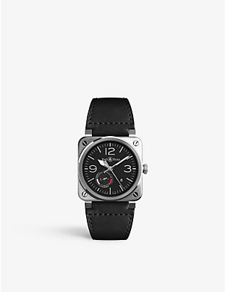 BELL & ROSS: BR0397-BL-SI/SCA /2 Aviation steel and leather watch