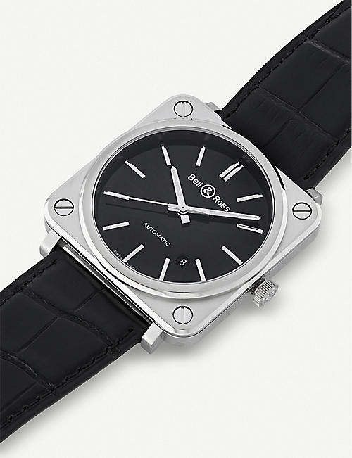 BELL & ROSS BRS92-BLC-ST/SCR steel and leather watch