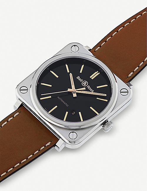 BELL & ROSS BRS92STGHESCA Intruments BR S-92 satin-polished steel and leather watch
