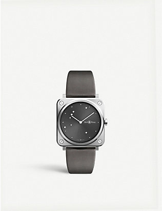 BELL & ROSS: BRSERUSTSCA Instruments BR S satin-polished steel and leather watch