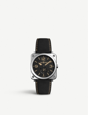 BELL & ROSS BR S Heritage aviation stainless steel and leather