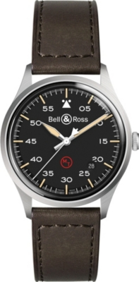 BELL & ROSS BRV192MILSTSCA Replica steel and leather strap watch