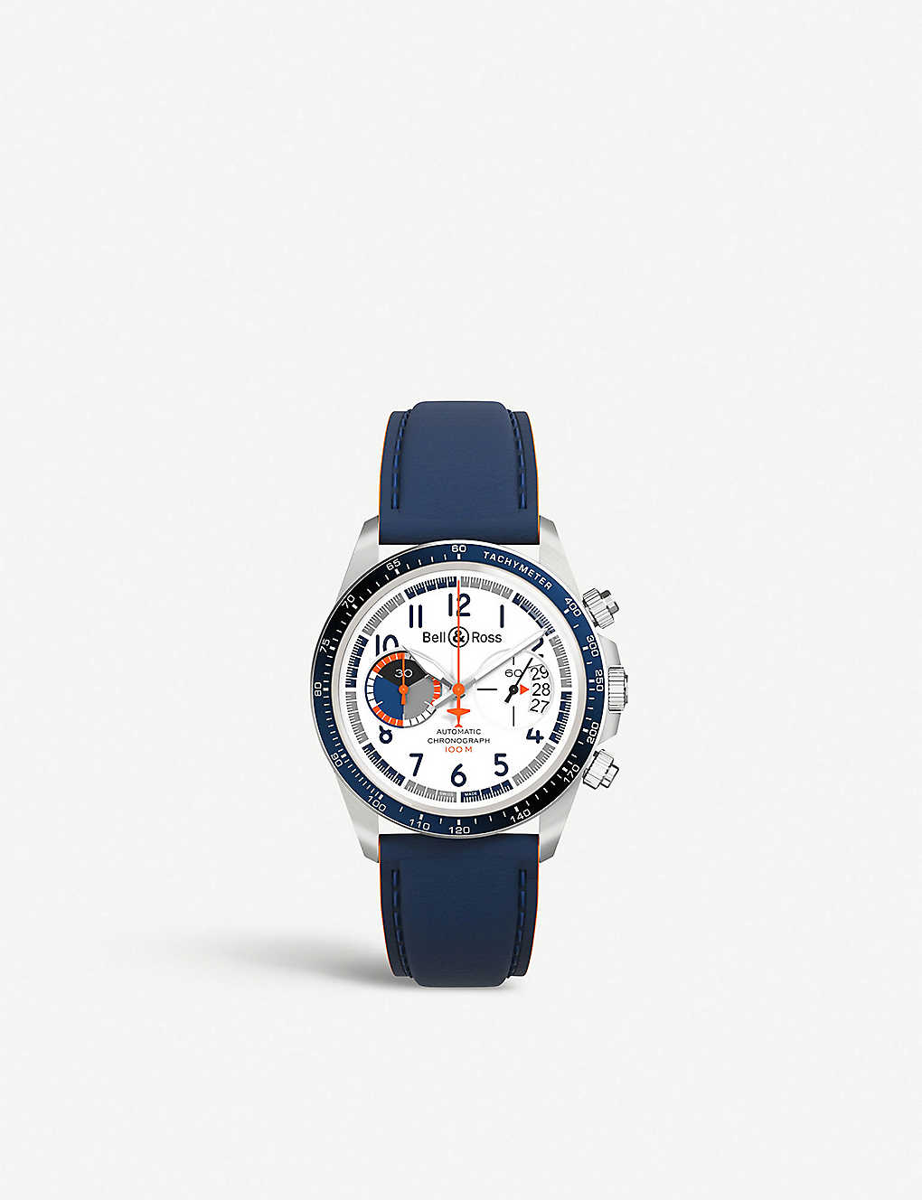 b902a0033 BR V2-94 Racing Bird stainless steel and leather chronograph watch ...