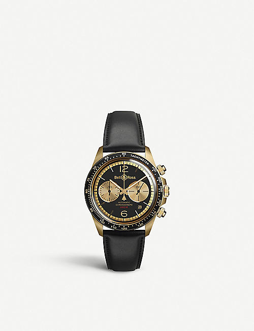 BELL & ROSS: BRV294-BC-BR/SCA Vintage Bellytanker BR V2-94 Bellytanker bronze and leather chronograph watch
