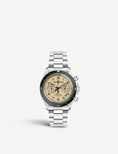 BELL & ROSS: BRV294-BEI-ST/SST Vintage stainless steel watch