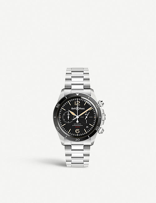 BELL & ROSS BR V2-94 Steel Heritage stainless steel chronograph watch