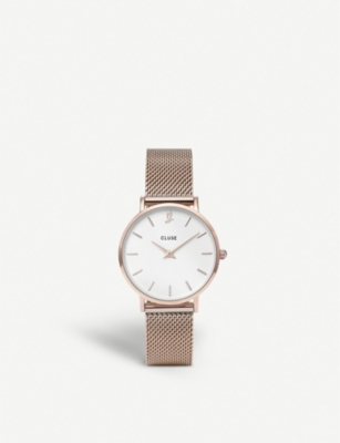 CLUSE CLG013 Minuit Heart Rose Gold Mesh Watch and Bracelet Gift Box
