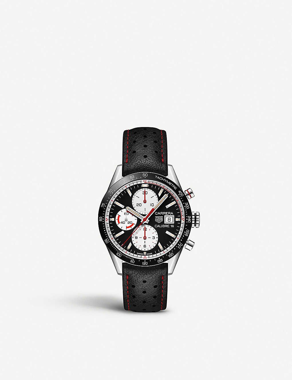 7746cb764e TAG HEUER Carrera Calibre 16 vintage steel and leather chronograph watch