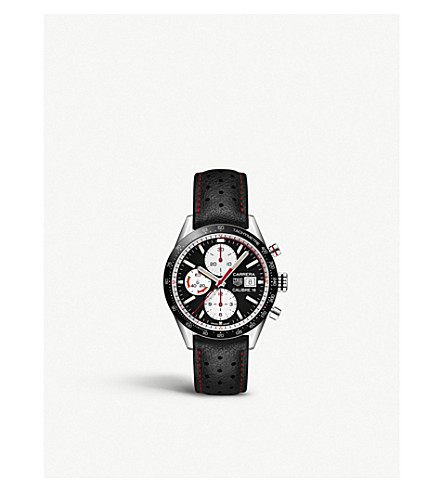 81025222294 TAG HEUER - Carrera Calibre 16 vintage steel and leather chronograph ...