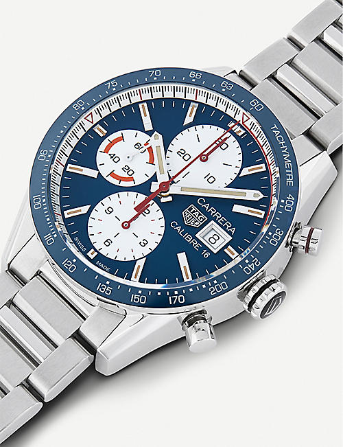 TAG HEUER CV201ARBA0715 Carrera Calibre 16 stainless steel chronograph watch