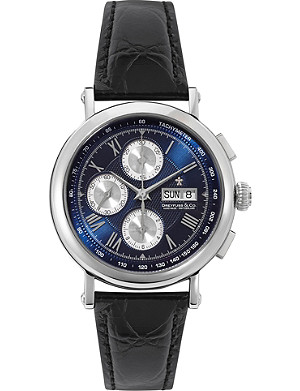 DREYFUSS DGS00050/05 Valjoux stainless steel and leather watch