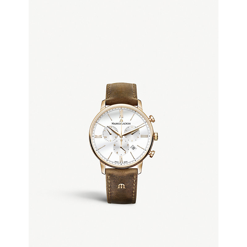 MAURICE LACROIX El1098-Pvp01-113-1 Eliros Yellow Gold Chronograph Watch in Brown