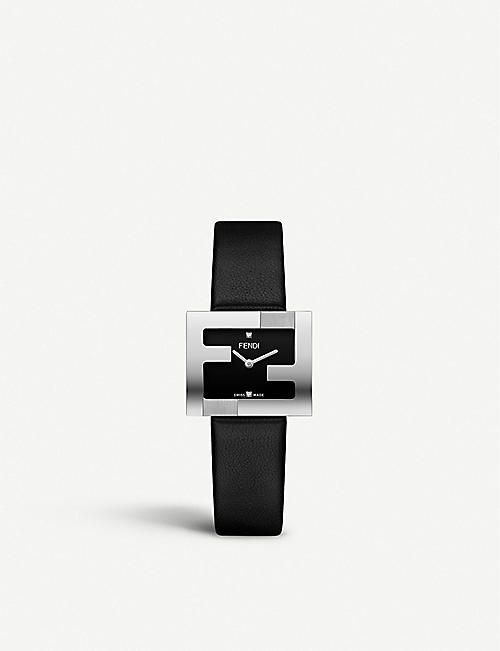 FENDI: Fendi Timepieces F100101001 Fendimania stainless steel and leather watch
