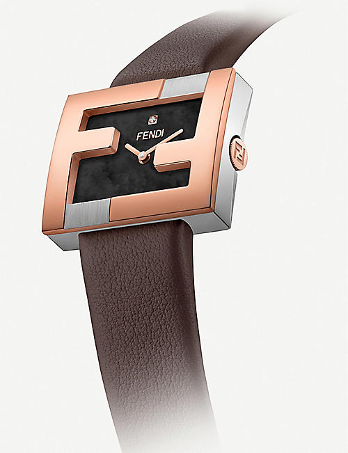 FENDI Fendi Timepieces F100302201 Fendimania stainless steel and leather watch