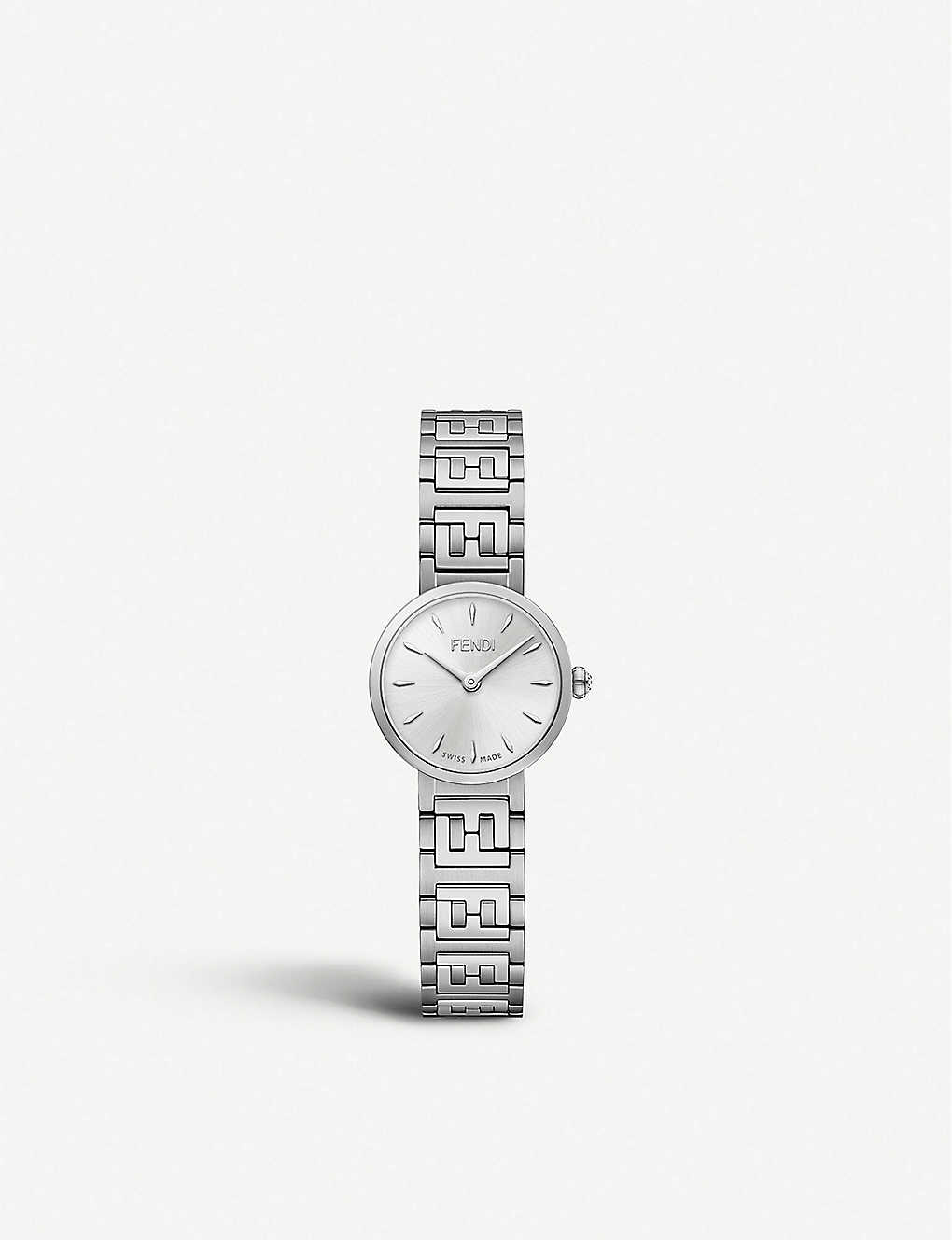 FENDI: Fendi Timepieces FOW825A17IF0QA0 Forever Fendi stainless steel and diamond watch