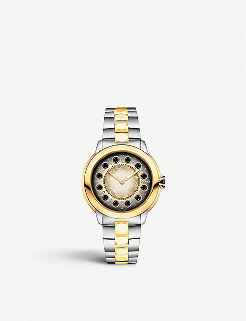 FENDI: Fendi Timepieces F121124500T01 IShine stainless steel and 18ct yellow-gold watch