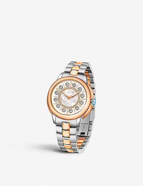 FENDI: Fendi Timepieces F121224500D2T07 IShine stainless steel and 18ct rose-gold watch