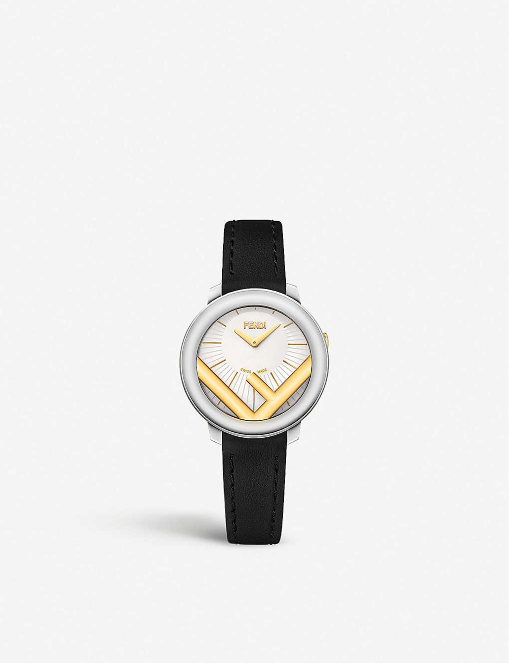 FENDI: Fendi Timepieces F710124011 Run Away stainless steel and leather watch