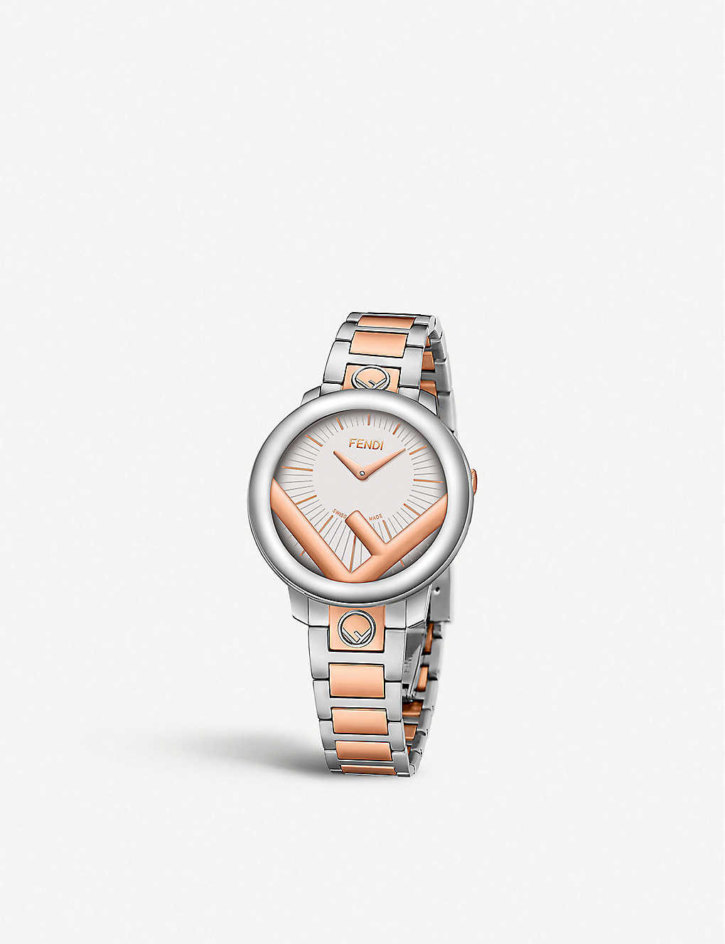 FENDI: Fendi Timepieces F711224000 Run Away stainless steel and rose-gold watch