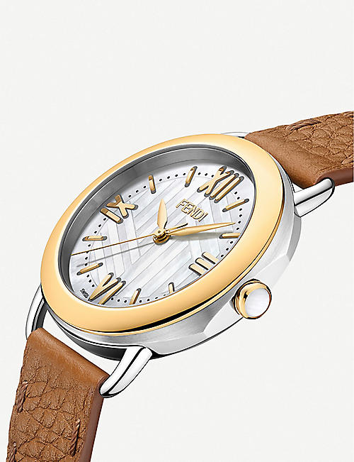 FENDI Fendi Timepieces F8021345H0 Selleria gold-plated, mother-of-pearl and leather watch