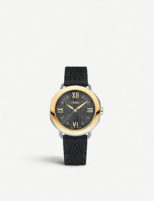 FENDI: Fendi Timepieces F8021360H0 Selleria gold-plated, stainless steel and leather watch