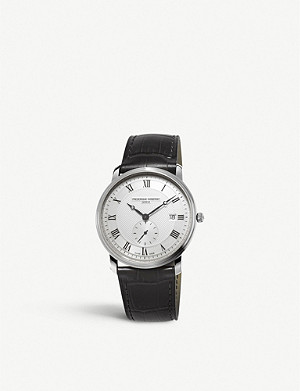 FREDERIQUE CONSTANT FC245M5S6 Slim Line silver-plated stainless steel and leather watch