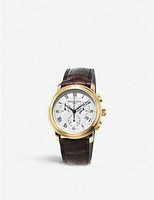 FREDERIQUE CONSTANT: FC-292MC4P5 classic gold-plated stainless steel and leather watch